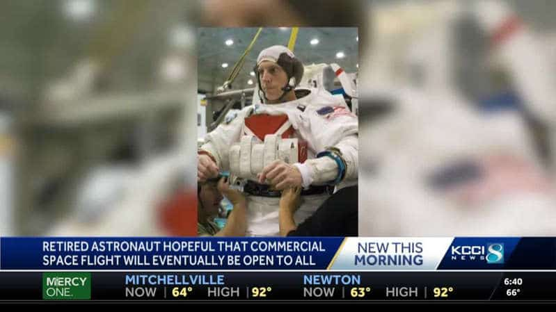 Retired astronaut hopes commercial space flight will be open for all